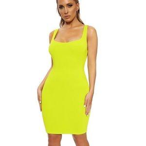 Naked wardrobe NW yellow mini tank stretchy dress